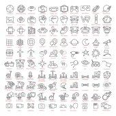 One hundred vector thin line  icons set Contains: 3d and virtual reality augmented reality and navigation gyro scooters and hoverboards space and more for UX UI prototypes