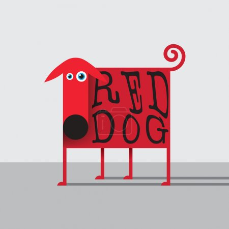 Illustration for Vector illustration with flat kid styled red dog for branding, kids books, t-shirt prints and other - Royalty Free Image