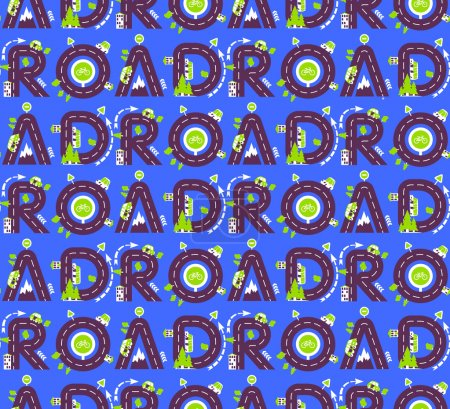 Seamless pattern of letters road