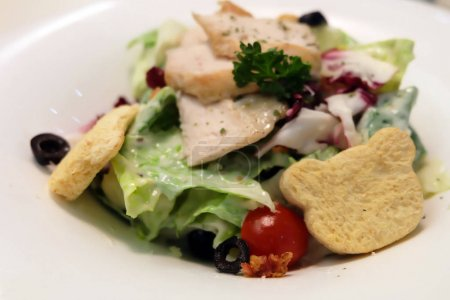 Fresh Caesar Salad with Bear Breads and Chicken on White Plate