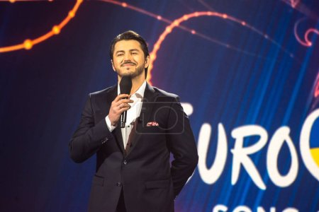 KYIV, UKRAINE - FEBRUARY 21, 2017: Leading Sergey Prytula during the national selection of Eurovision-2017