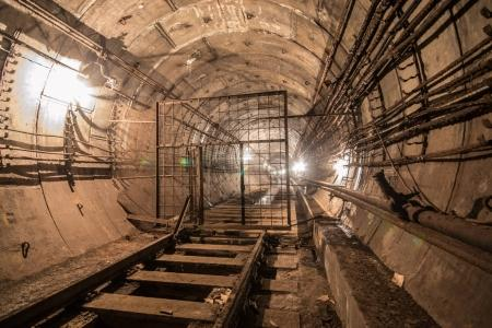 Abandoned subway tunnel. Kiev, Ukraine. Kyiv, Ukraine