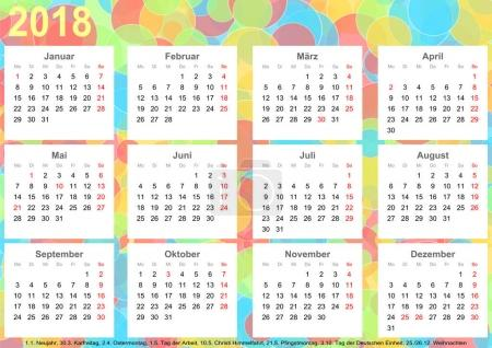 Calendar 2018 background colorful circles GER