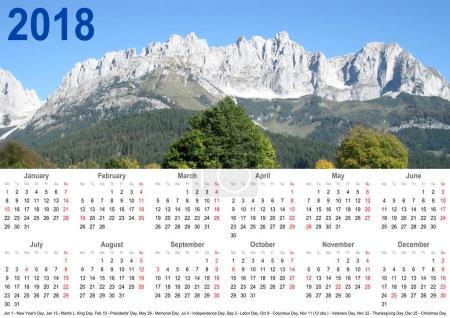 Annual calendar 2018 USA mountain landscape