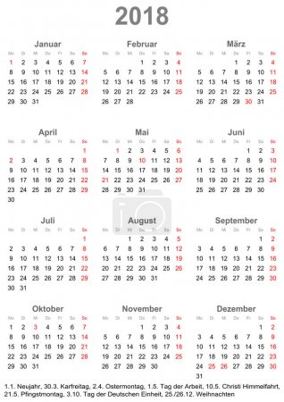 Simple calendar 2018 with public holidays for Germany