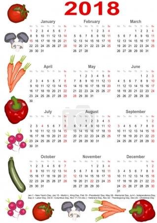 Calendar 2018 for USA with various vegetables