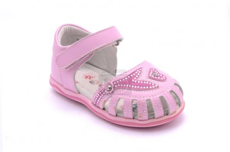 pink sandals for baby isolated on white
