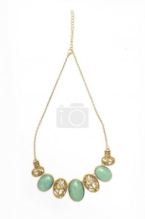 necklace with precious stones isolated on white