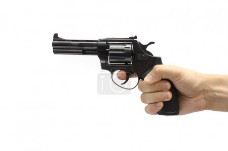 revolver in hand isolated on white