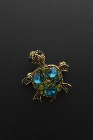 brooch turtle with diamonds isolated on black