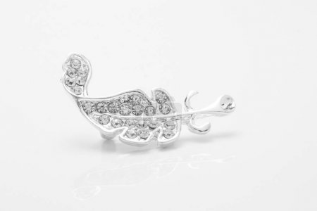 silver brooch feather with diamonds isolated on white