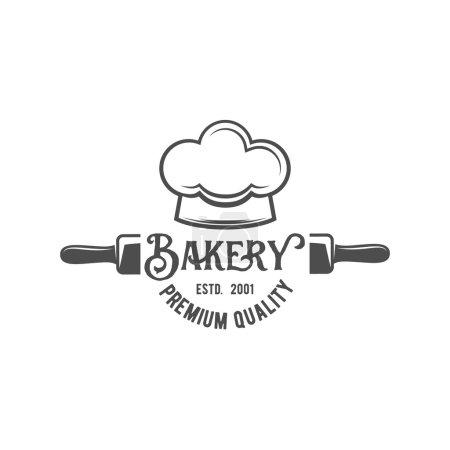 Illustration pour Badge de boulangerie, logo icône de style moderne vecteur. Logotype rétro et éléments de design isolés sur fond blanc - image libre de droit