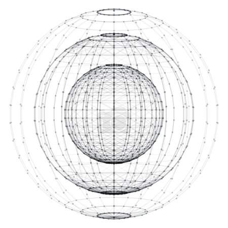 wireframe spherical objects