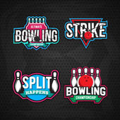 Colorful bowling logos design templates on black background