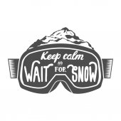 Snowboarding emblem with motivation quotes on snowboard goggles