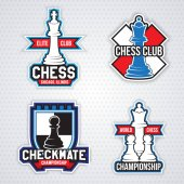 Chess logos design templates for club on grey background