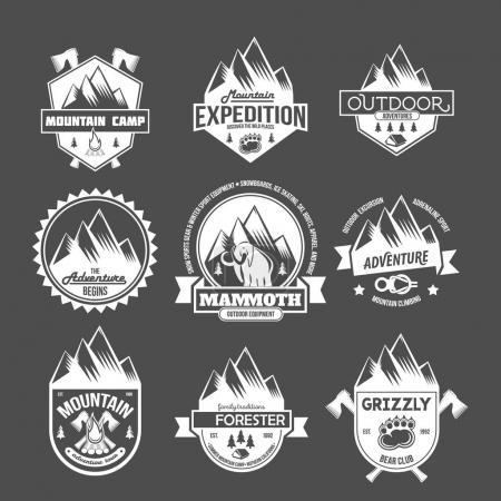 mountain adventure and travel emblems