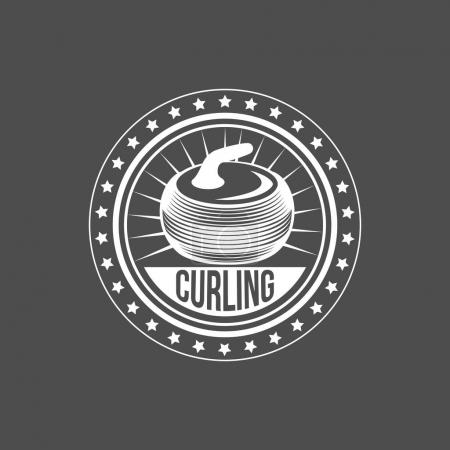 Curling game vintage badge