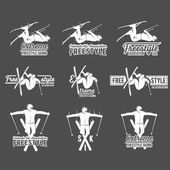 Vintage ski freestyle logos badges emblems and design elements Winter extreme sports logo skier Retro logo design Old school sport logo Monochrome badges