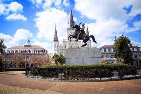 Photo pour Vue complète de la place Jackson à la Nouvelle-Orléans, Louisiane - image libre de droit