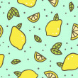 Bright lemons and leafs background. Vector hand dr...