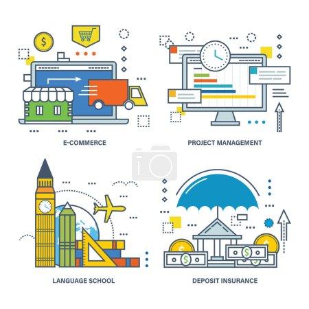 Illustration pour La trousse contient des illustrations pour le commerce électronique, la gestion et le contrôle de projets, les écoles de formation linguistique et l'assurance-dépôts. Illustration vectorielle . - image libre de droit