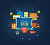 Concept of special sales  offers promotions discounts