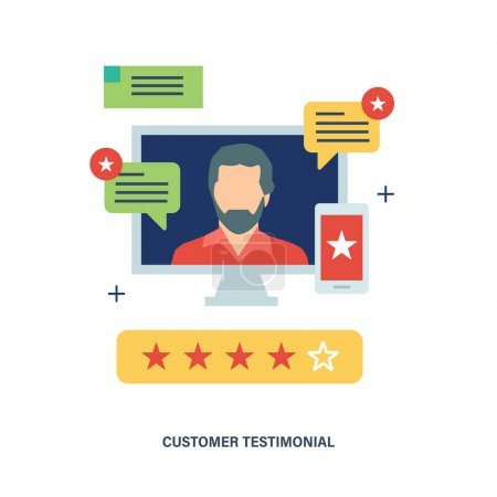 Concept of customer testimonials, business, feedback, vote and reviews.