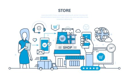 Store and online purchase, delivery, technical support.