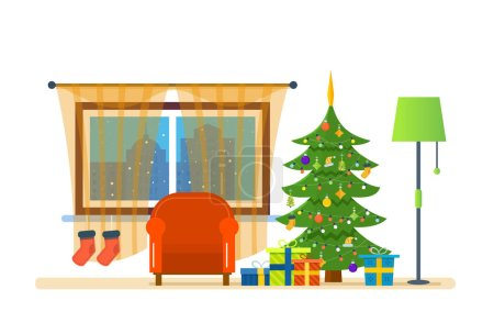 Atmosphere of the new year, furniture for relaxing. Merry Christmas.