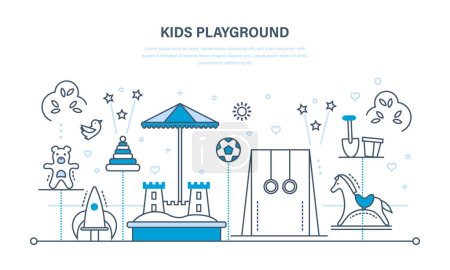 Childrens entertainment playground, benches, sandbox, swing, a recreation park.