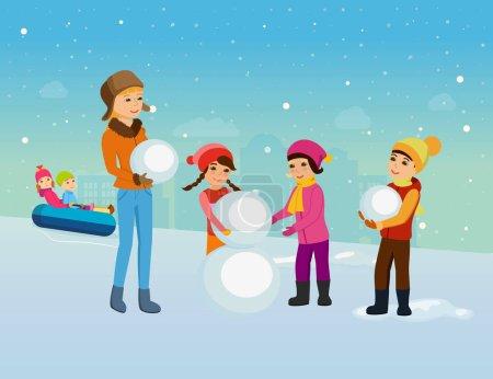 Illustration pour Activités hivernales préférées des enfants. De jeunes enfants vêtus d'hiver, sculptent un bonhomme de neige et montent des montagnes russes de bonne humeur avec un sourire sur le visage. Illustration vectorielle . - image libre de droit
