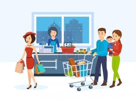 Illustration pour Magasins, intérieur des supermarchés, alimentation saine, magasinage dans un magasin. Fille frappante avec des emballages alimentaires et une jeune famille, faire le tour du magasin afin d'acheter des marchandises. Caissier et vendeur Pass . - image libre de droit