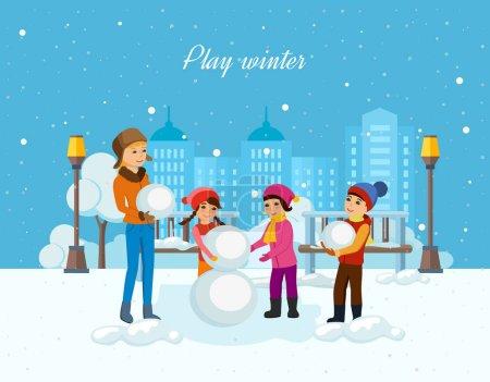 Illustration pour Concept - activités hivernales préférées des enfants. De jeunes enfants vêtus d'hiver sculptent un bonhomme de neige de bonne humeur avec un sourire sur le visage. Illustration vectorielle. Peut être utilisé dans la bannière, application mobile . - image libre de droit
