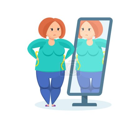 Full girl looks in the mirror, wanting to lose weight.