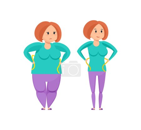 Fitness classes concept. Girl before and after weight loss.