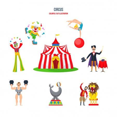 Circus concept. Stunning performances, clowns, jug...