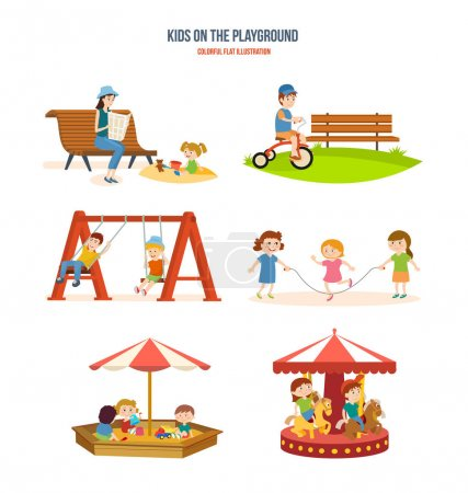 Illustration for Kids on the playground concept. Walking with the children in the fresh air, cycling, roundabouts and swings, playing with friends, fun in the sandbox. Colorful flat illustration. - Royalty Free Image
