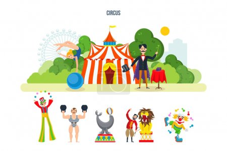 Concept illustration - circus building in the park and entertainment attractions.