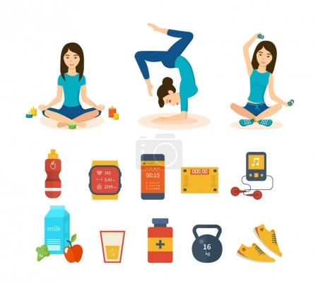 Girls involved in sports and yoga, taking different positions.