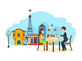 Happy couples in love concept Enamoured couple sitting at a table in a restaurant Paris talking and drinking champagne Vector illustration isolated on white background