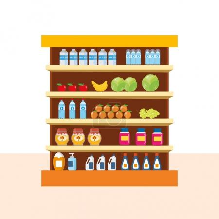 Illustration for Store food products, shopping mall, counter with foods - vegetables and fruits, sweets, on background interior room. Vector illustration isolated on white background. - Royalty Free Image