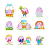 Cute bunnies: in basket with Easter egg couples with flowers
