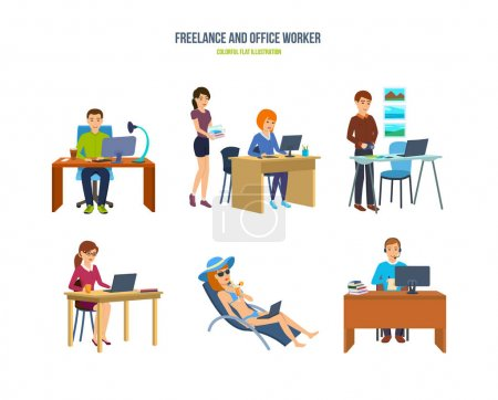 Freelancers and office workers in various situations and environments.
