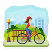 Woman in summer clothes riding a bike for leisure park on the background of the city and its streets Engaged in outdoor activities and sports spending time on the road Vector illustration
