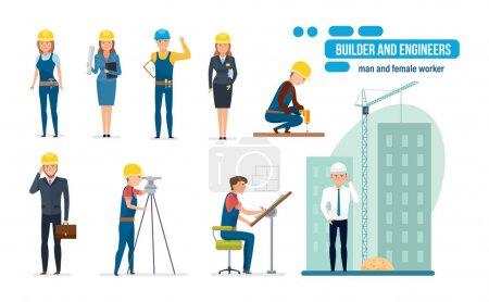 Illustration pour Caricature d'ingénieurs avec équipe de travailleurs de la construction, constructeur, architecte, réparateur et directeur, dans différentes situations, circonstances et avec des fonctions différentes. Illustration vectorielle isolée - image libre de droit