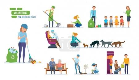Illustration for Volunteers concept. Help people and nature. Set with young people helping elderly people, animals, planting and recycling rubbish, cleaning city. Vector illustration isolated on white background. - Royalty Free Image