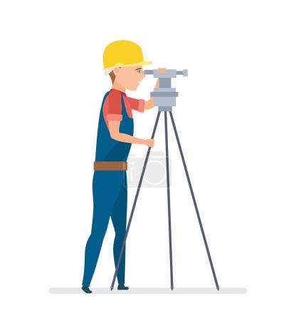 Cadastral engineer conducting land management expertise, conducting land markings.