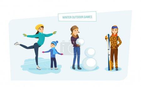Illustration pour Concept de jeux extérieurs d'hiver. Parc d'attractions et de détente. Maman monte sur la glace avec son fils sur des patins, une jeune fille sculpte un bonhomme de neige dans le parc, la fille va skier. Illustration dans le style de dessin animé . - image libre de droit