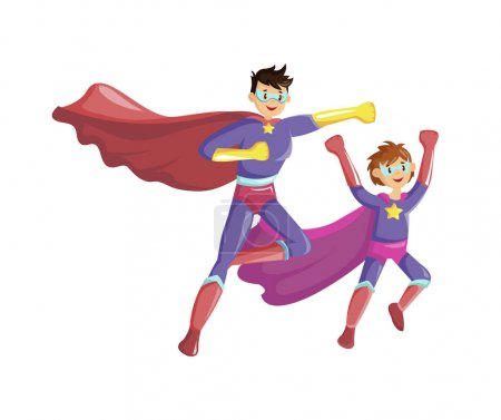 Illustration for Superheroes father and son fly together in super hero costumes with cape and masks. Family of superheroes. Cartoon vector illustration - Royalty Free Image